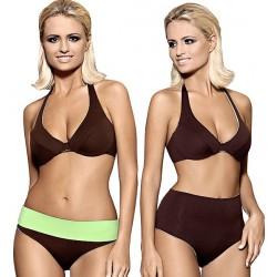 Strój kąpielowy dwuczęściowy bikini na fiszbinach L-6127 ZUZANNA, brąz z zielonym