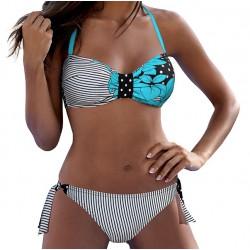 Strój kąpielowy dwuczęściowy bikini L-6220 v.2 JULIA, niebieski z wzorem