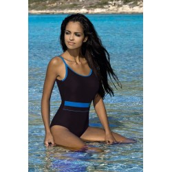 Strój kostium kąpielowy L-7102 v.1 DELFINA czarny+niebieski