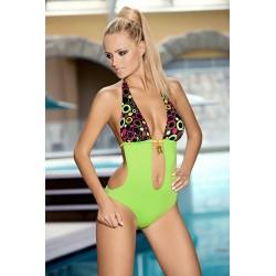 Strój kostium kąpielowy L-7104 v.226 DAGMARA monokini zielony+wzór