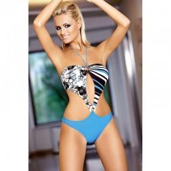 Strój kostium kąpielowy L-7109 SERENA monokini niebieski+czarny+biały