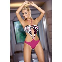 Strój kostium kąpielowy L-7109 SERENA monokini różowy+czarny+biały