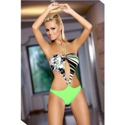 Strój kostium kąpielowy L-7109 SERENA monokini zielony+czarny+biały