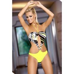 Strój kostium kąpielowy L-7109 SERENA monokini żółty+czarny+biały