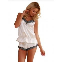 Piżama damska RONDA satyna koszulka szorty ecru