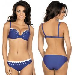 Strój kąpielowy dwuczęściowy bikini push-up L-2067/6 V.2, szafirowy z białym
