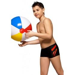Kąpielówki spodenki chłopięce dla chłopca CB-3, czarne z pomarańczem