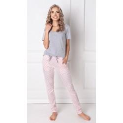 Piżama damska Q Long Szara-róż Aruelle Homewear