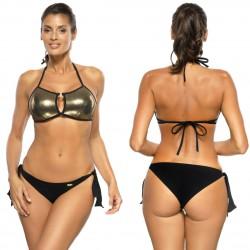 Kostium kąpielowy M-593/1 strój czarno-złoty