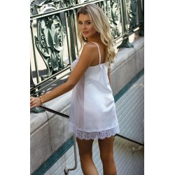 Komplet Delia biała koszulka + stringi satyna koronka