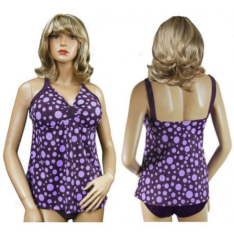Strój kąpielowy Tankini w fioletowe grochy - tył i majteczki.