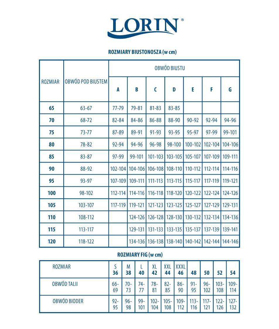 Tabela rozmiarów LORIN