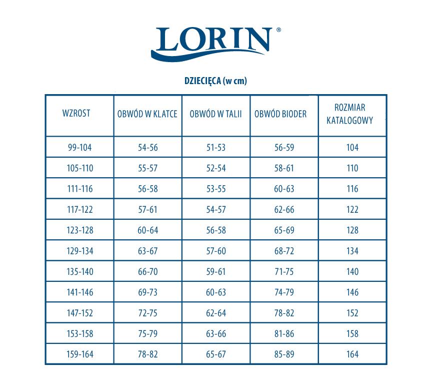 Tabela rozmiarów dziecięcych LORIN